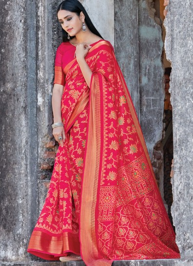 Pink Cotton Printed Saree