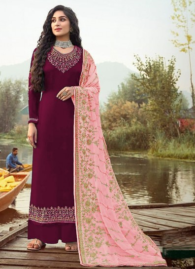 Wine Georgette Palazzo Suits