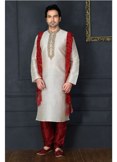 Off White Art Dupion Silk Festival Sherwani