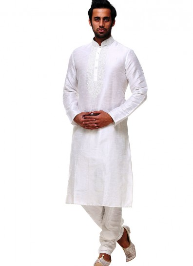 Off White Silk Festival Sherwani
