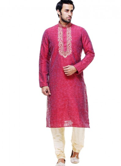 Red Silk Casual Sherwani