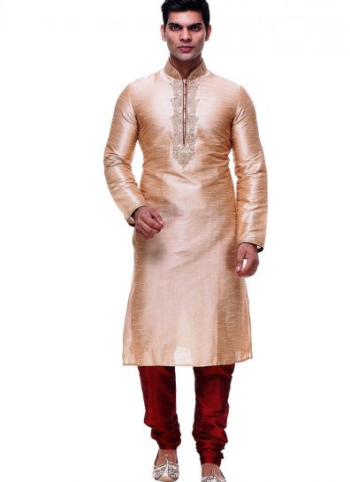 Cream Silk Casual Sherwani