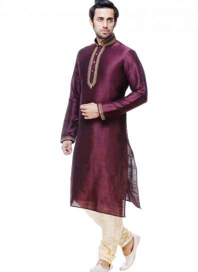 Wine Silk Casual Sherwani