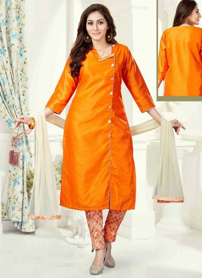 Orange Silk Straight Cut Salwar
