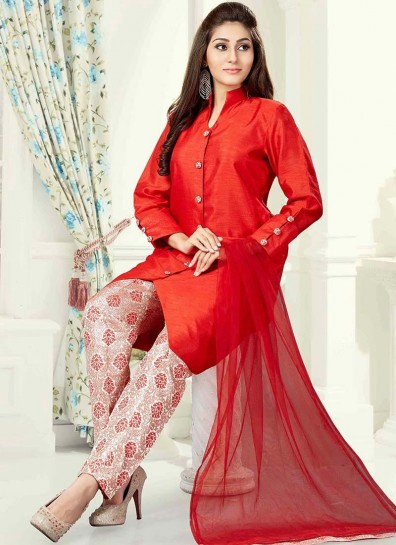 Red Art Silk Straight Cut Salwar