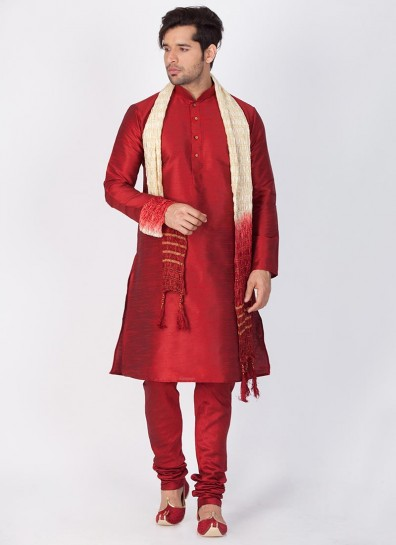 Maroon Readymade Cotton Silk Kurta Pajama