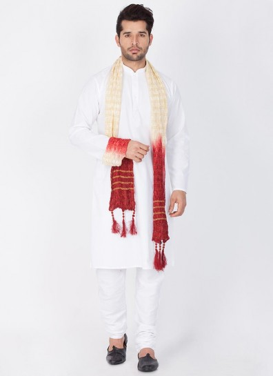 White Cotton Silk Readymade Kurta Pajama