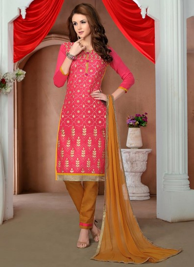 Pink Glace Cotton Straight Cut Style Suit