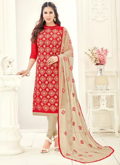 Red Chanderi Cotton Straight Cut Suit