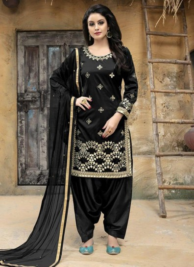 Black Taffeta Silk Patiala Suit