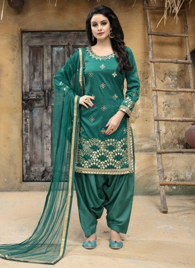 Green Taffeta Silk Patiala Suit