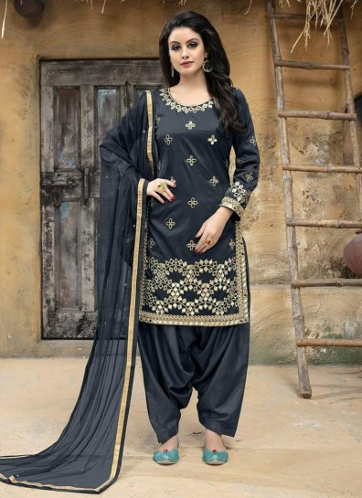 Grey Taffeta Silk Patiala Suit