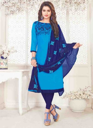 Blue Satin Cotton Straight Cut Suit