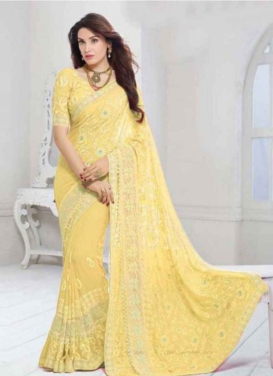 Yellow Designer Chiffon Saree