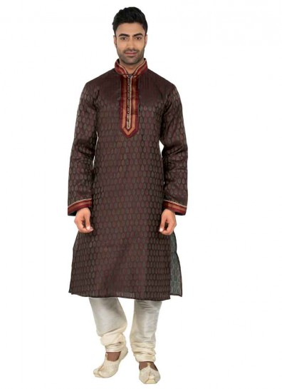 Brown Poly Silk Jacquard Kurta Pyjama