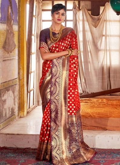 Red Jacquard Regional Saree