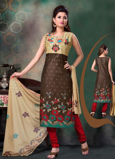 Brown Chanderi Straight Cut Suit