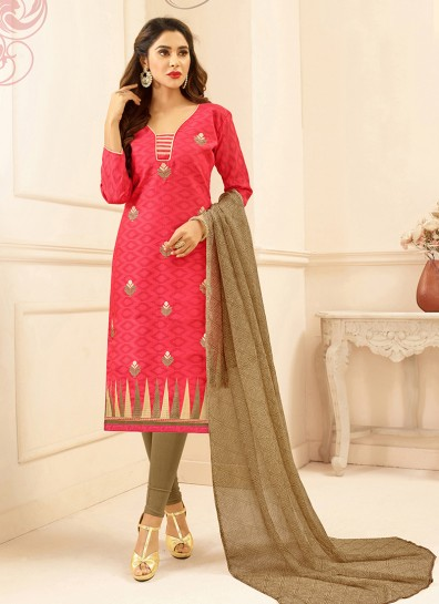 Red Cotton Straight Cut Suit