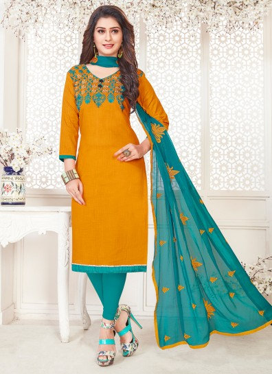 Mustard Cotton Straight Cut Suit