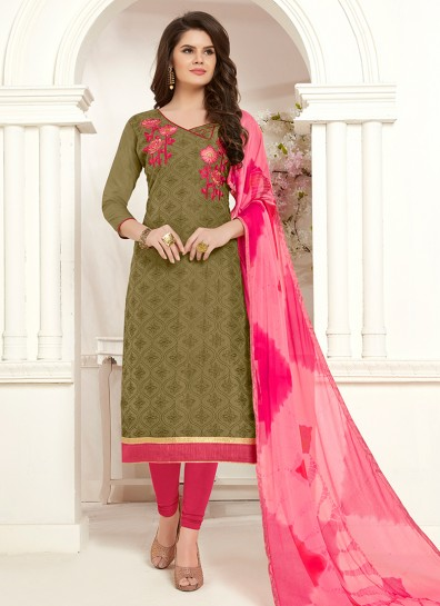 Green Cotton Straight Cut Suit