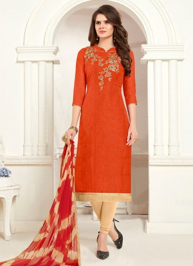 Orange Cotton Straight Cut Suit