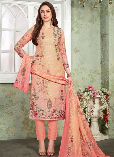Peach Muslin Straight Cut Suit