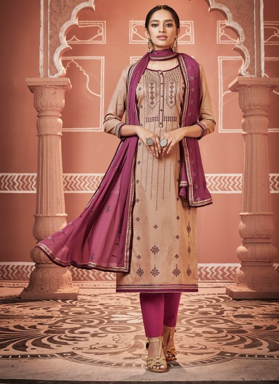 Brown Cotton Silk Straight Cut Suit