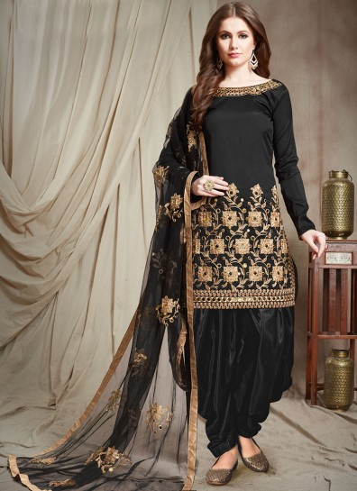 Black Faux Georgette Patiala Suit