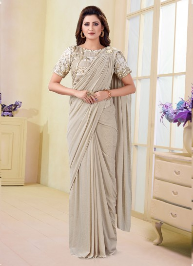 Off White Imported Fabric Bollywood Saree