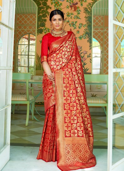 Red Weaving Girls Traditional Wear Saree