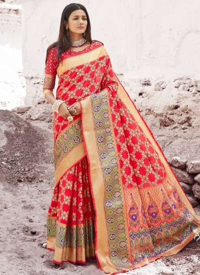 Red Patola Silk Classic Wear Saree