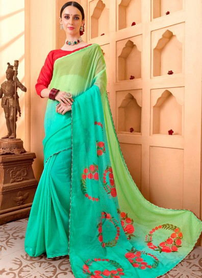 Multi Colour Chiffon Casual Saree