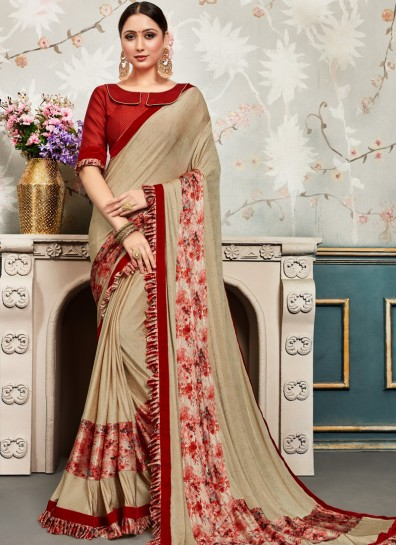 Beige Chiffon Bollywood Saree