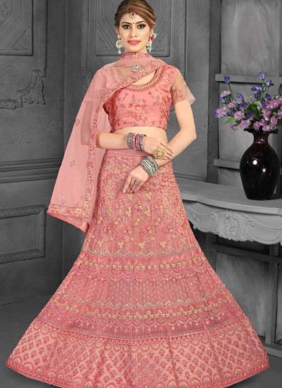 Pink Net Fish Cut Lehenga