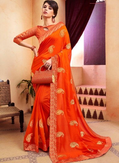 Orange Chanderi Designer Saree