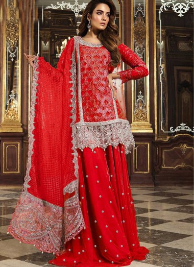 Red Net Sharara Suit
