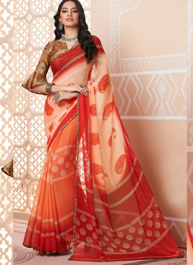 Multi Colour Chiffon Printed Saree