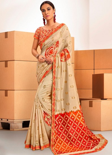 Beige Chanderi Bollywood Saree