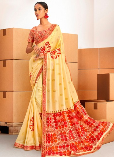 Yellow Chanderi Bollywood Saree