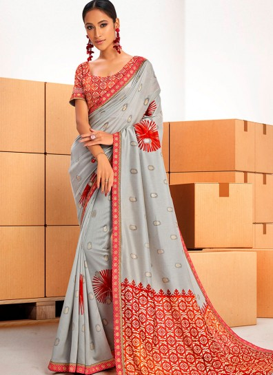 Grey Chanderi Bollywood Saree