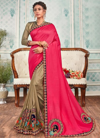 Pink Beige Chanderi Half And Half saree