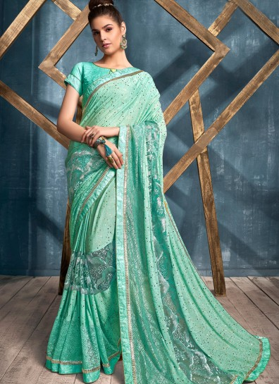 Turquoise Lycra Bollywood Saree
