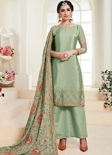 Green Chinon Palazzo Suit