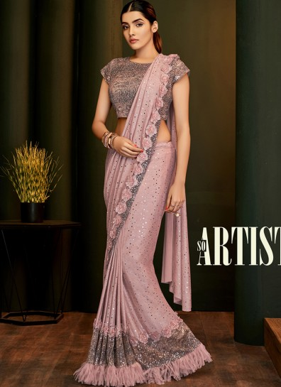 Pink Lycra Bollywood Saree