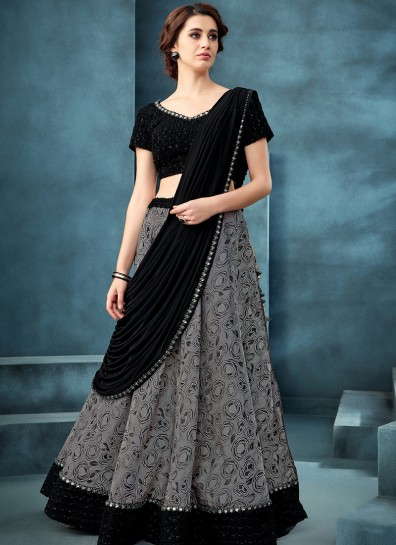 Grey Fancy Fabric Designer Lehenga