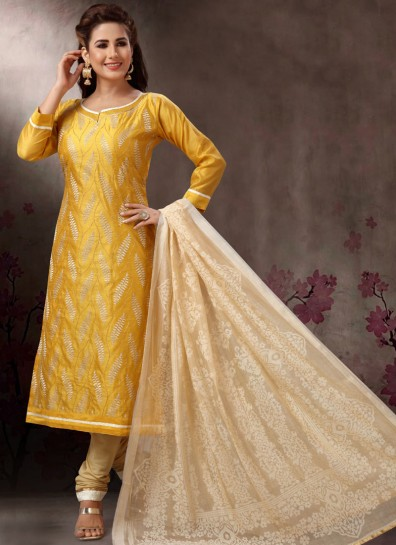 Gold Banarasi Straight Cut Suit