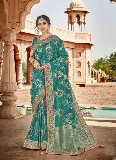Teal Art Silk Classic Wear Saree
