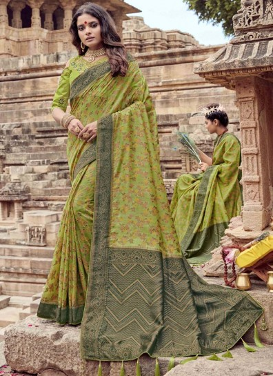 Green Chanderi Designer Saree
