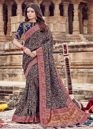 Blue Chanderi Designer Saree
