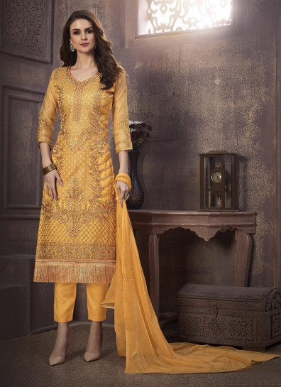 Yellow Organza Straight Cut Suit